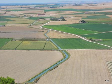 Campos de Tudela con la acequia en primer plano
