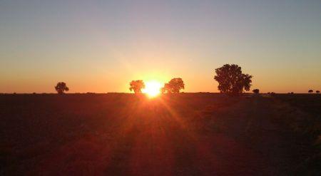 ...y a la puesta del sol