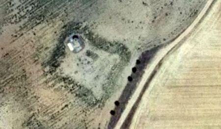 Planta de la torre del castillo de Foncastín (fotografía aérea del IGN)