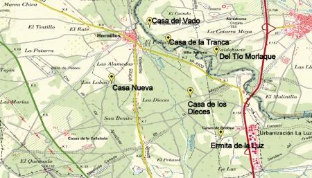 Mapa indicando donde estuvieron la ermita y las casas
