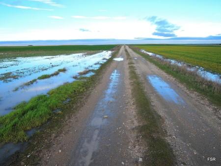 Agua en los campos, que no en el río
